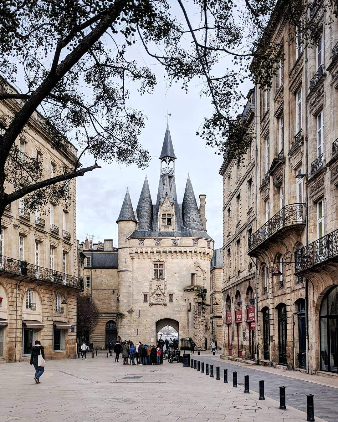 porte cailhau in bordeaux, france - a castle-like structure built from 1493-1496 that was the original gate to the city