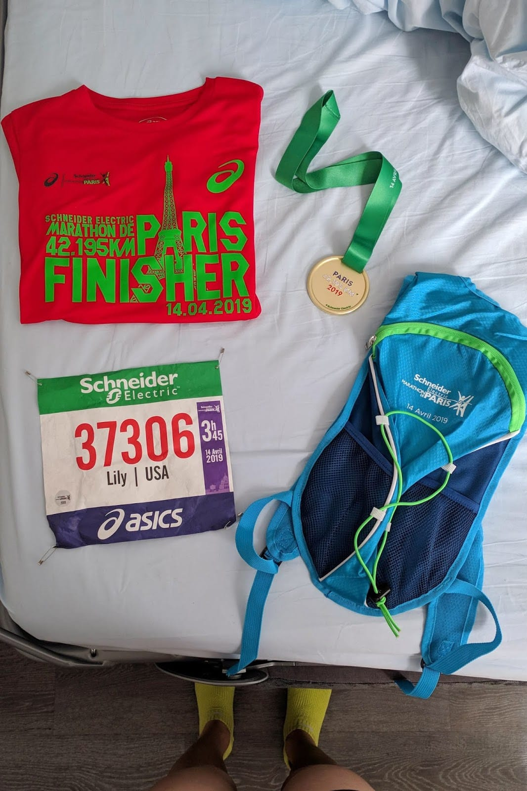 paris marathon medal and shirt 2019