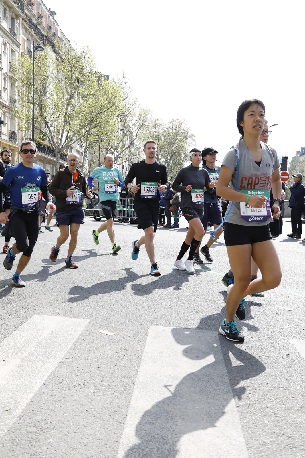 paris marathon during the race