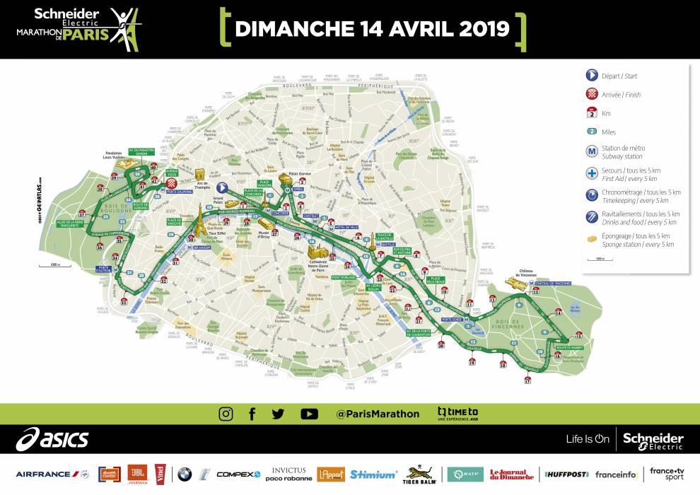 paris marathon course 2019