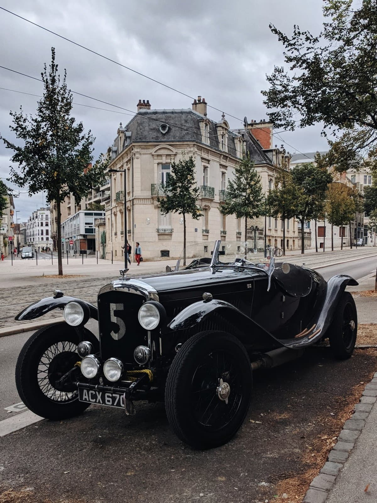 Black vintage car in Dijon, France