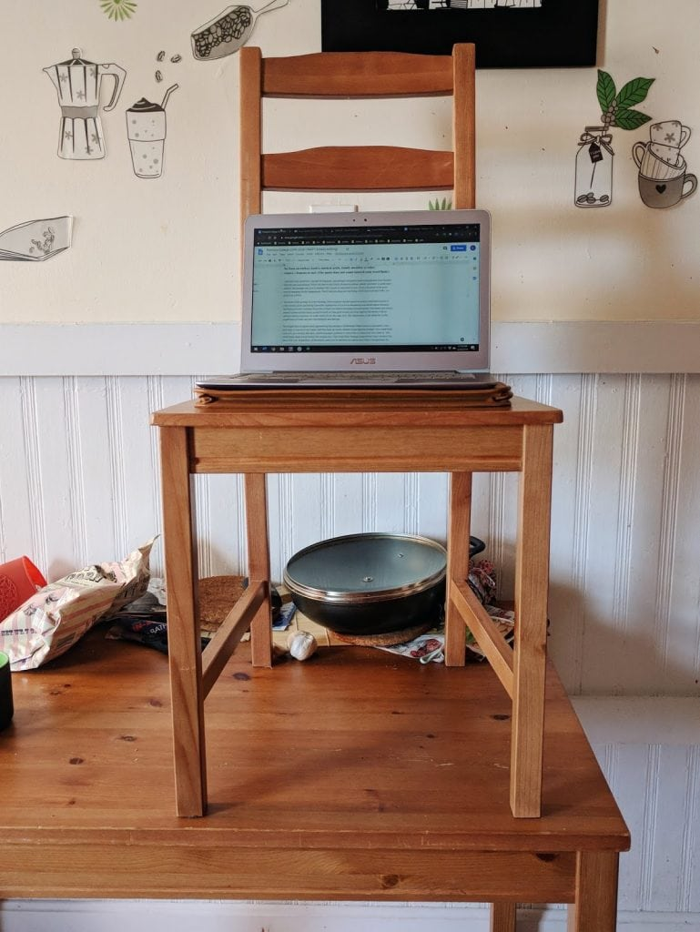 makeshift standing desk
