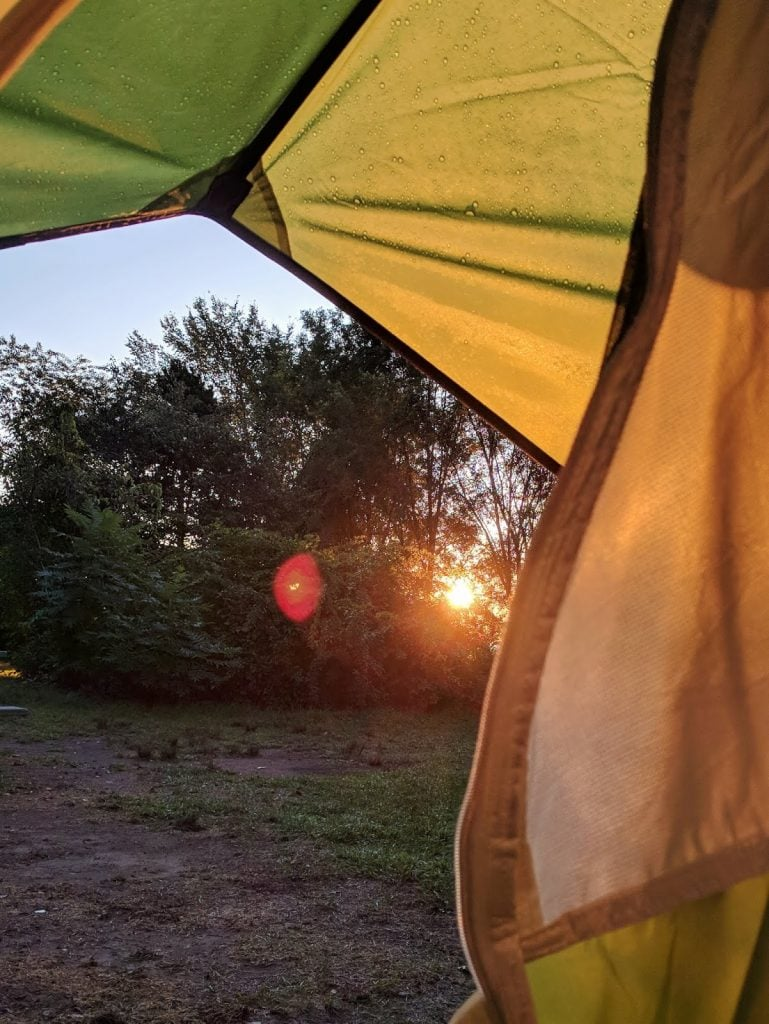 sunrise from a tent