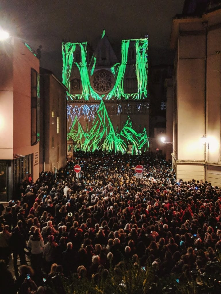 crowds at lyon's festival of lights