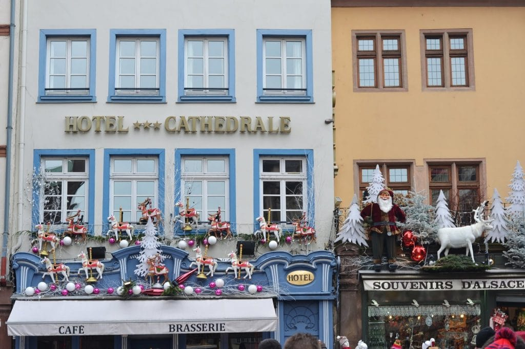 colorful and festive facades in Strasbourg old town during their famous Christmas Market