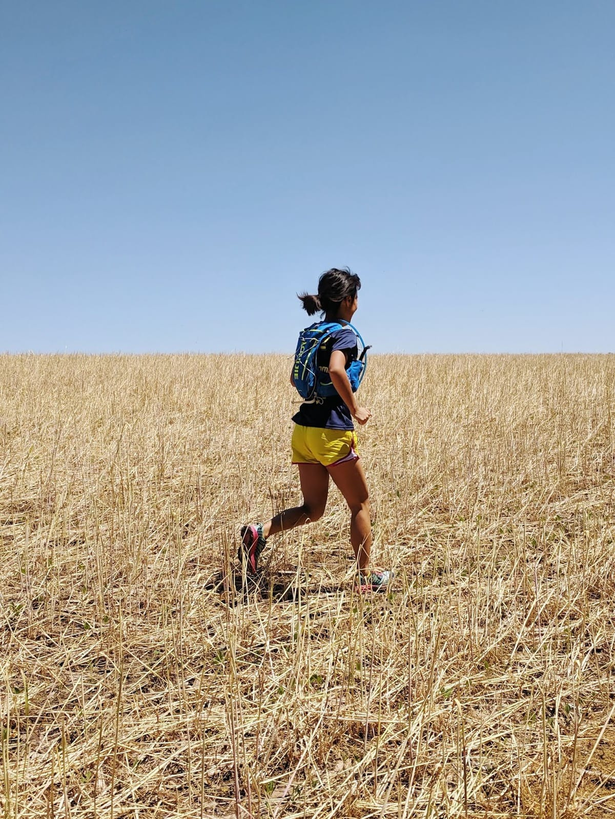 running in a field