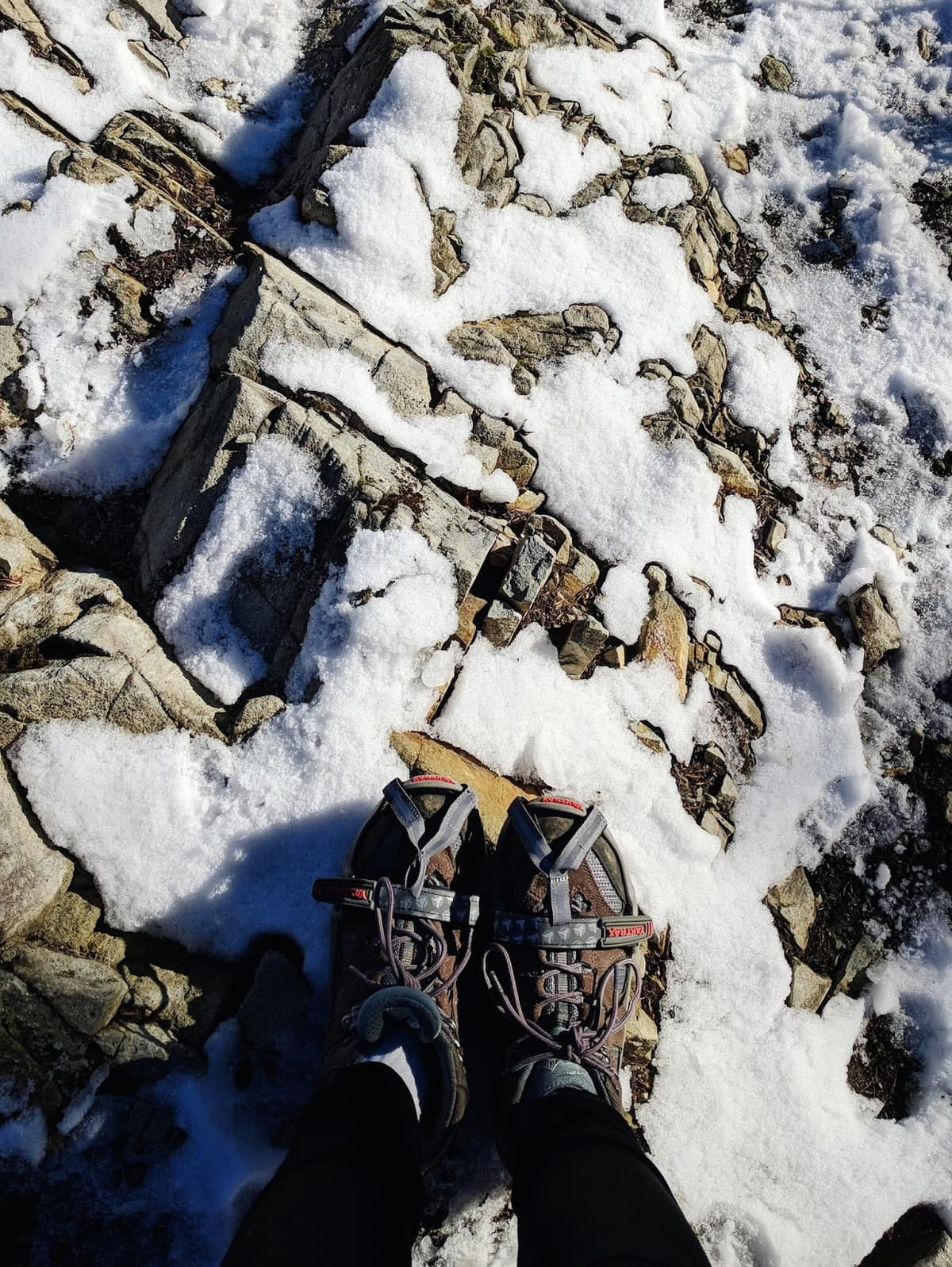 snowy hike with traction