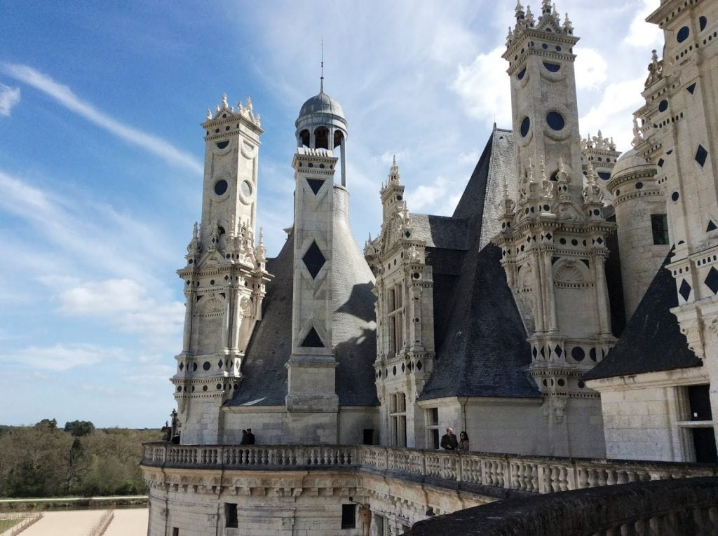 the spires of Château de Chambord from the top floor visitors can access
