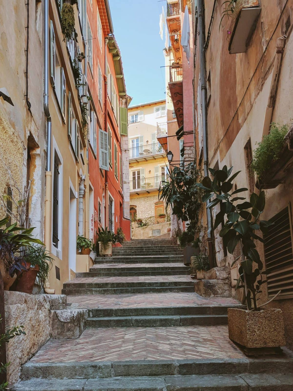Colorful alleyway in Villefranche-sur-Mer, France