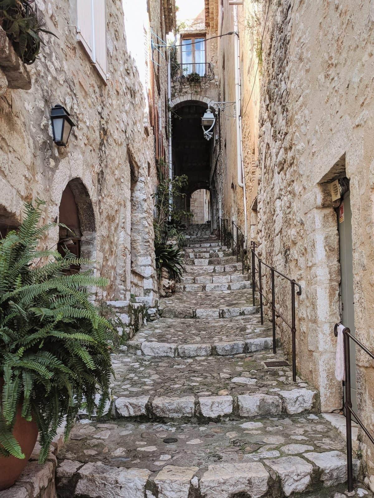 Cobblestone stairs in Saint-Paul-de-Vence