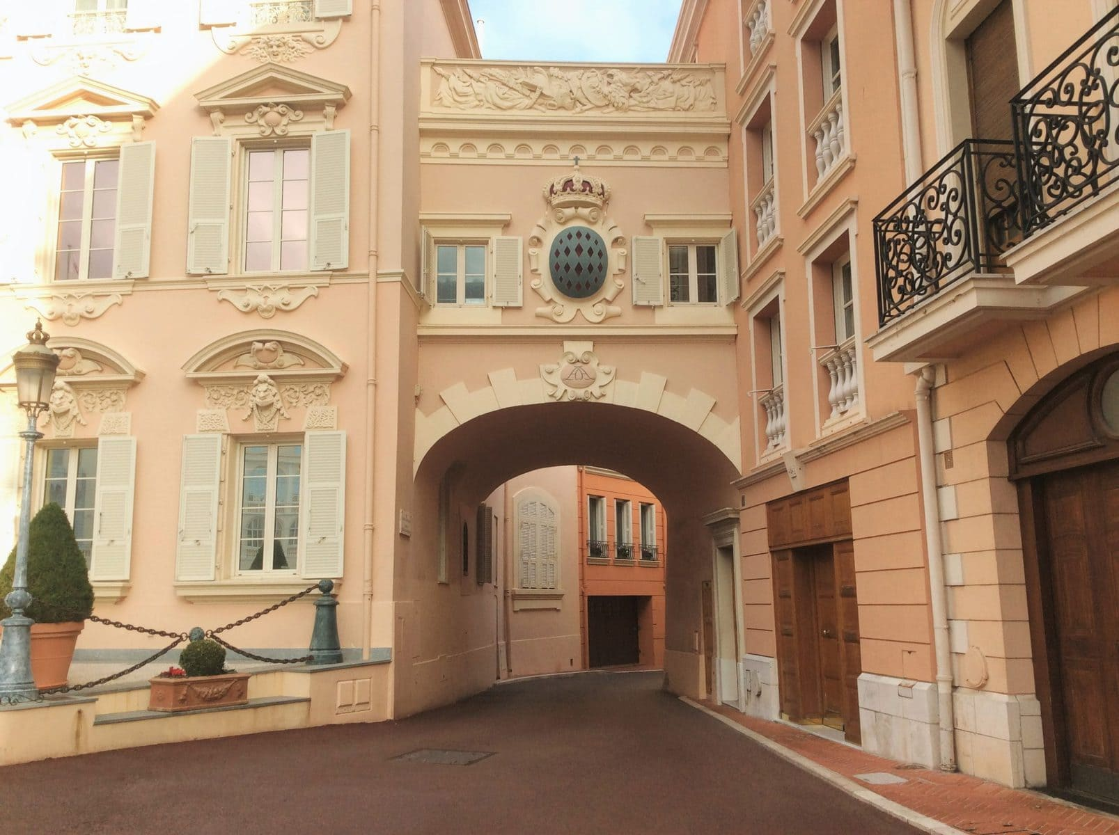 Pink buildings in Monaco