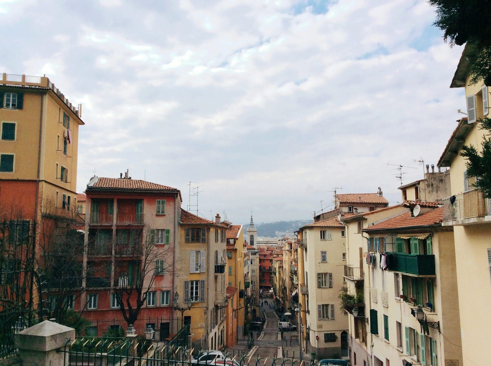 Colorful houses in Vieux Nice with coral rooftops