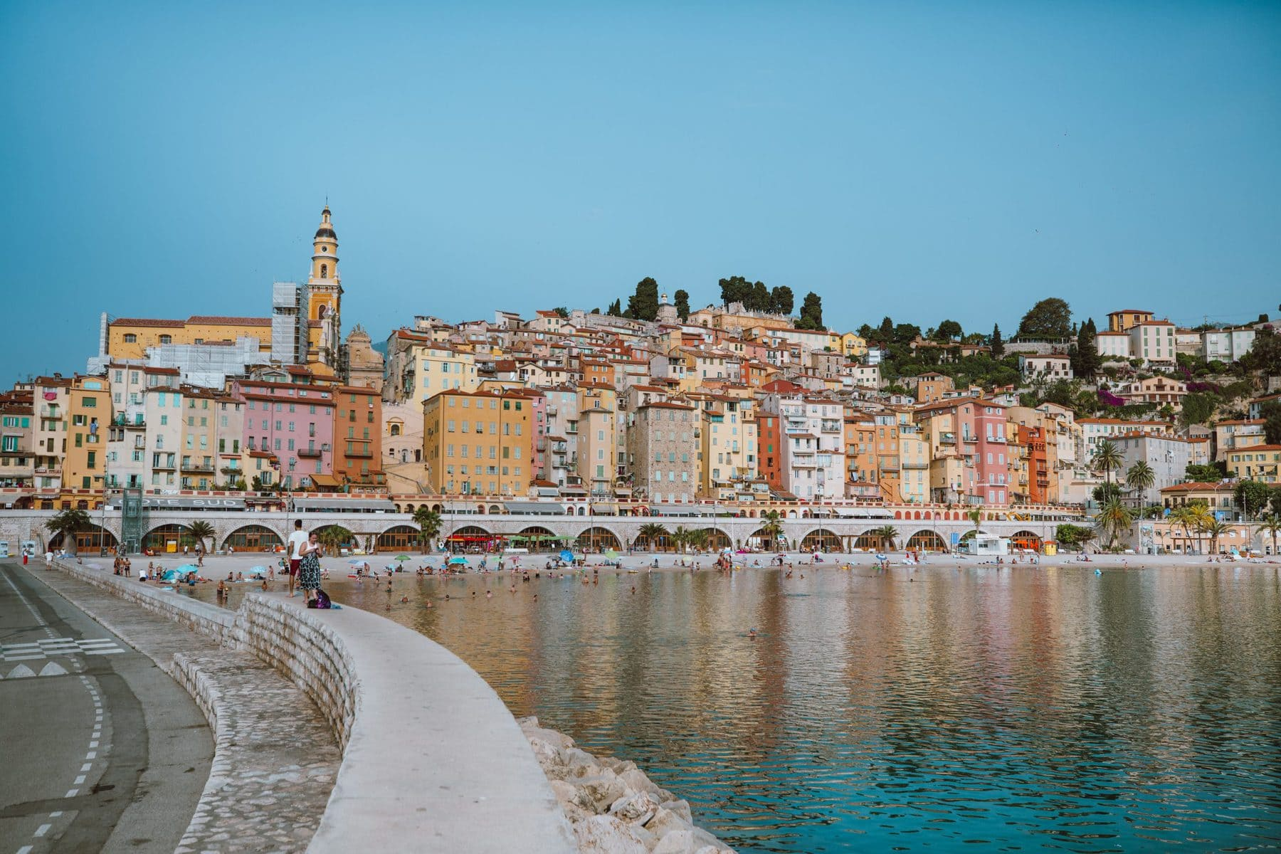 View of Menton, France from across the water