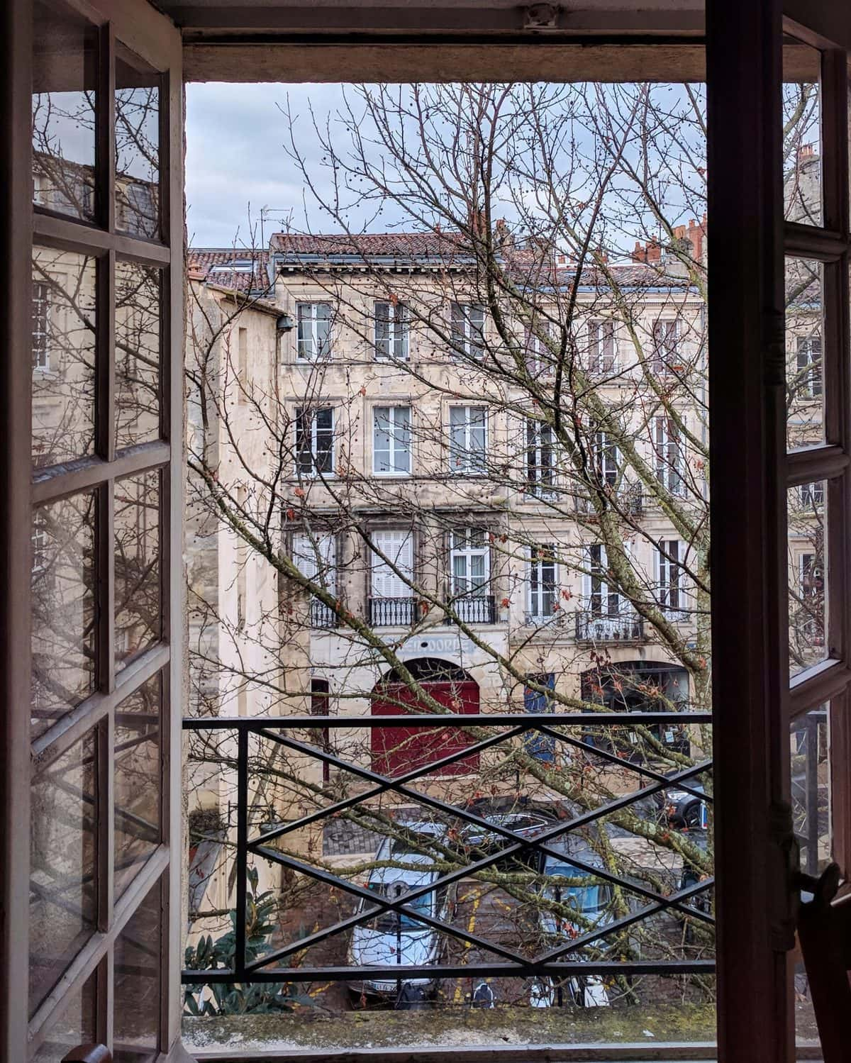view from a typical French window in Bordeaux, France
