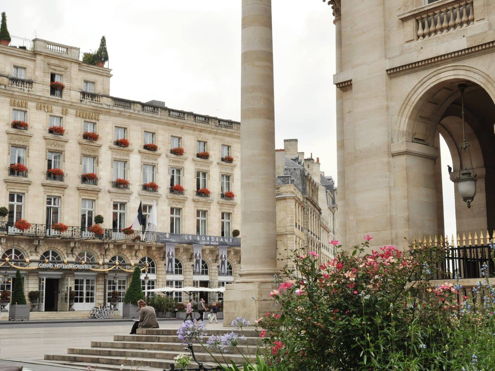 View of the Grand Hotel in Bordeaux, France from the Grand Theatre