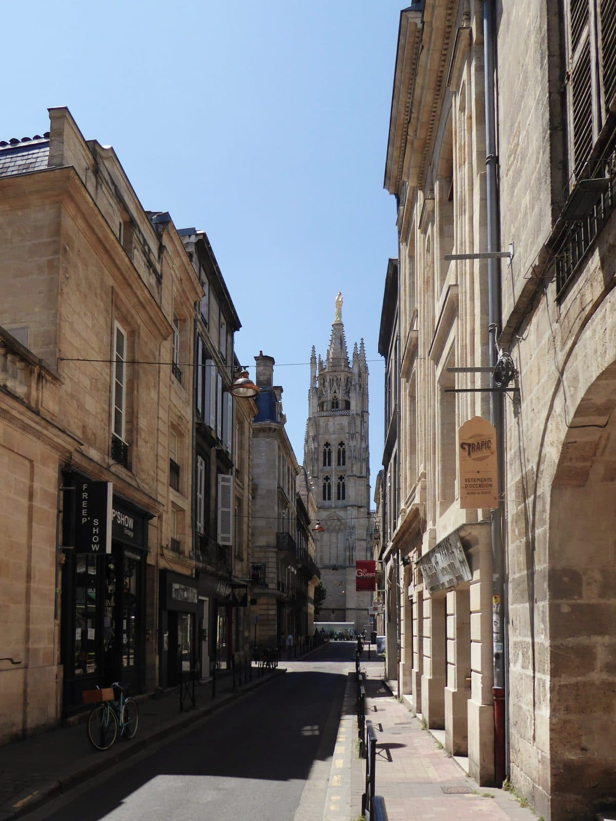 View of Pey Berland Tower in Bordeaux from Rue du Loup
