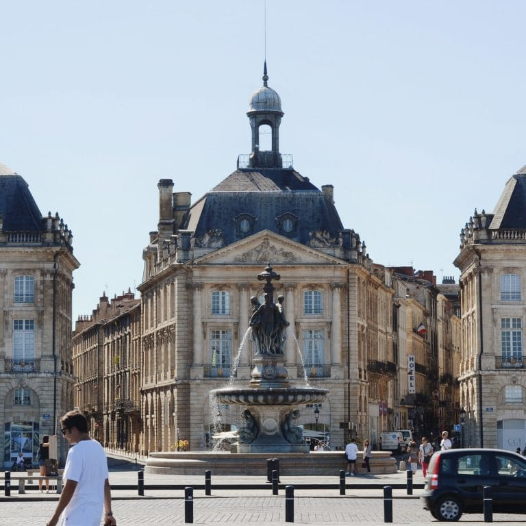 Place de la Bourse in Bordeaux, a square home to a former palace that now houses government offices