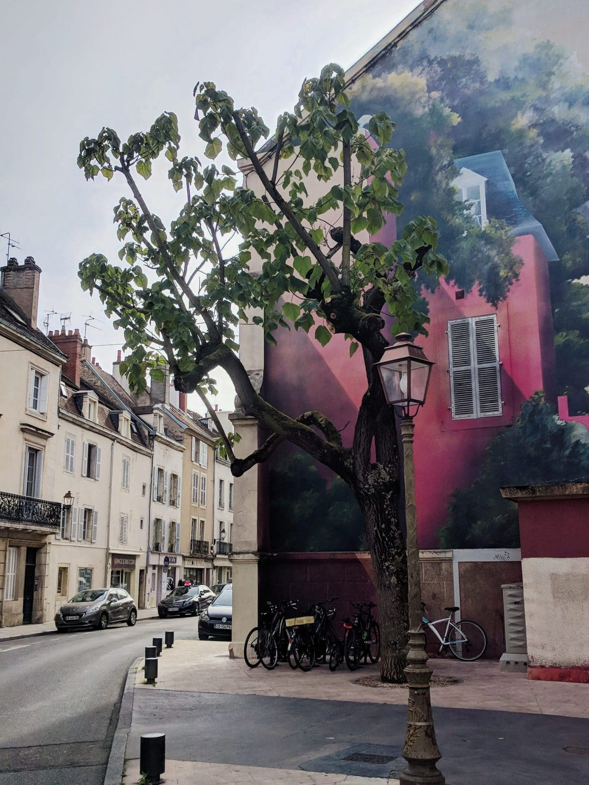 Cool mural of a house on the side of a building in Dijon, France