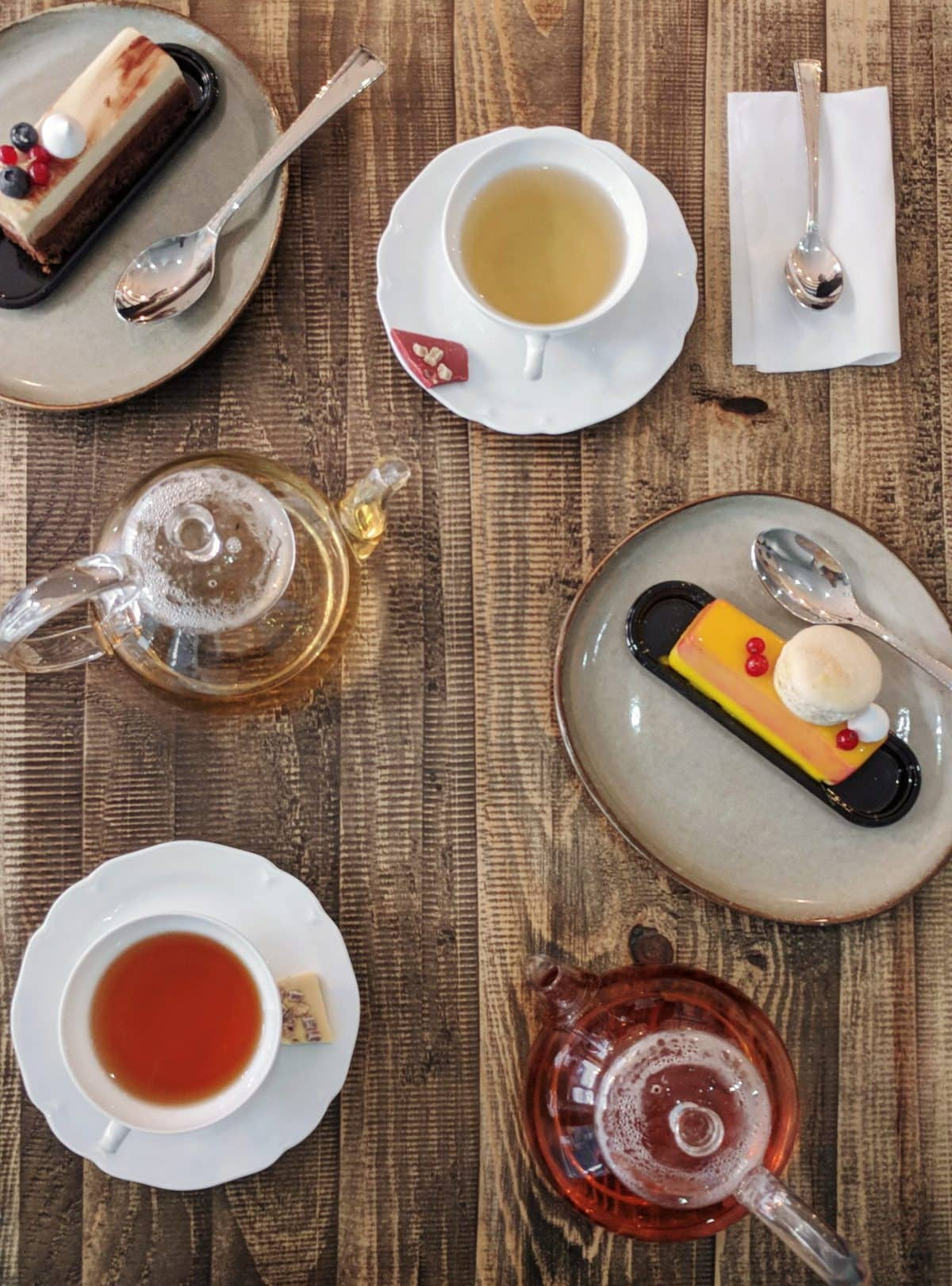 Flatlay of tea and cakes