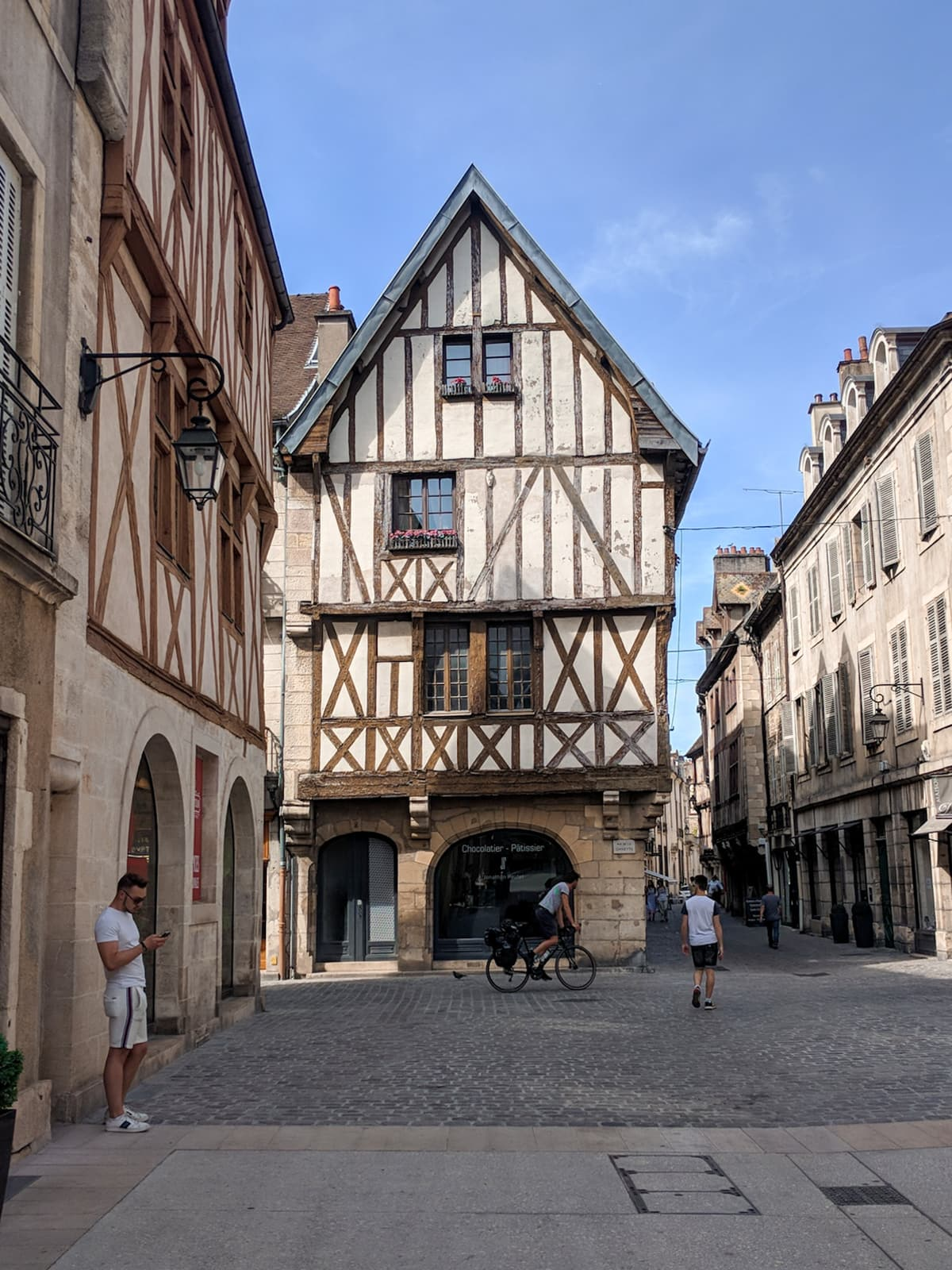 Half-timbered houses on Rue Verrerie in Dijon, France