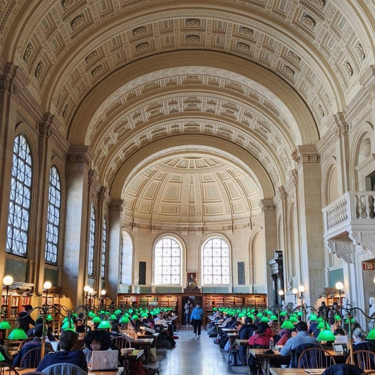 Boston Public Library main reading room with the green lamps