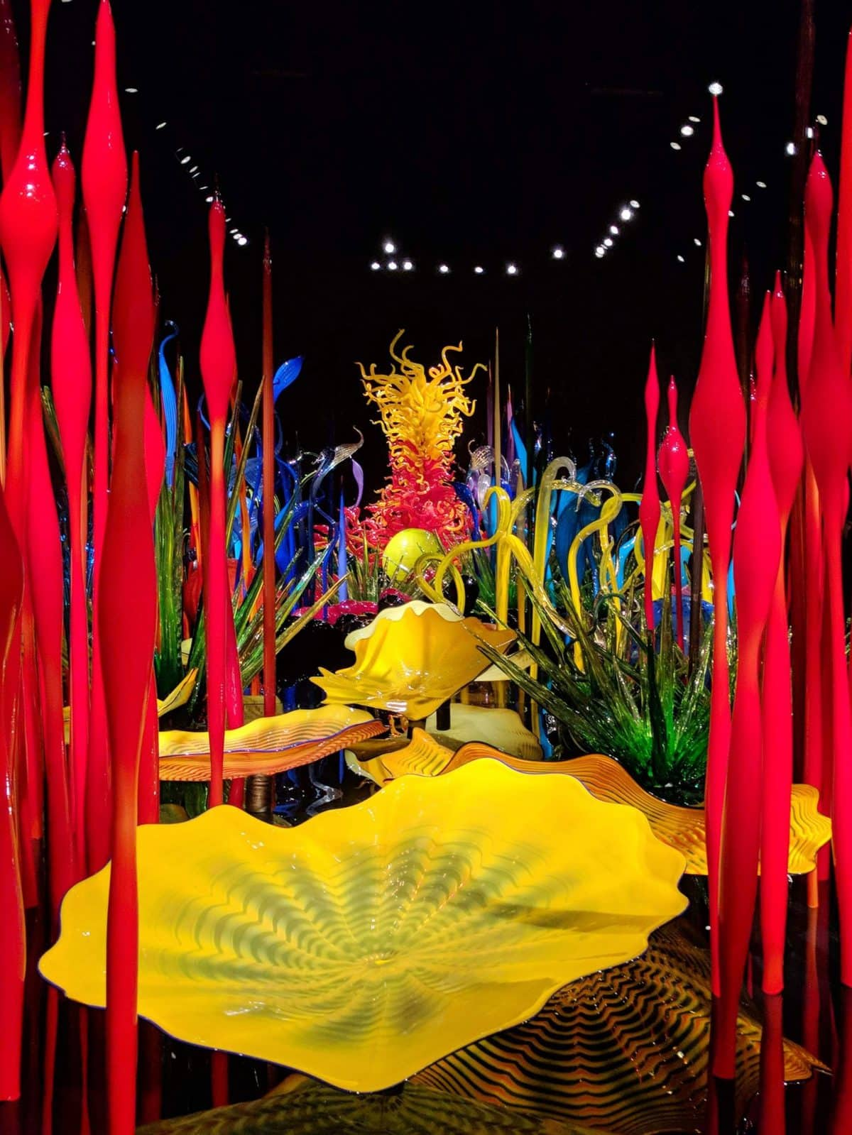 Indoor garden made of blown glass at Chihuly Garden and Glass
