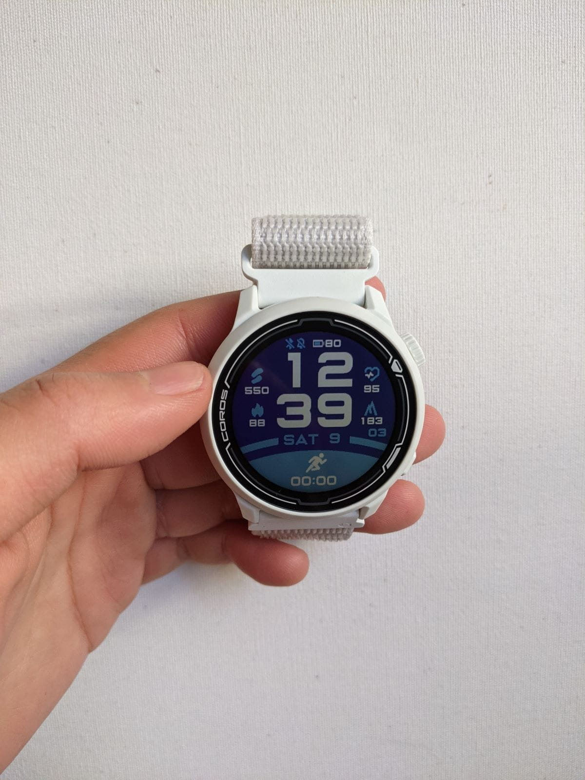 COROS PACE 2 in white with a nylon band
