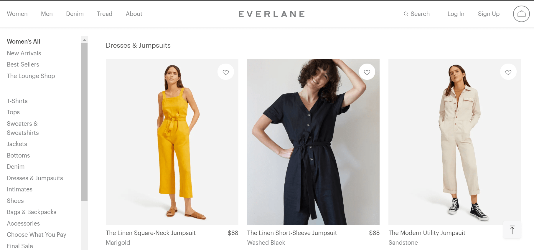 Screenshot of Everlane's website in the Women's section