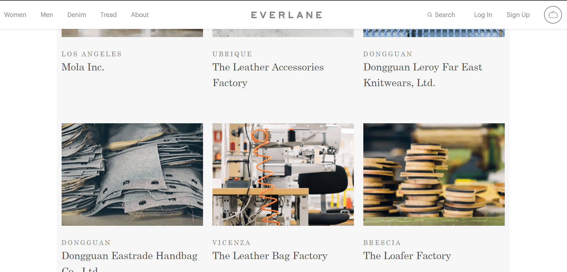 "Screenshot of Everlane's website and their factories; some are named, but others just have generic names like ""Leather Accessories Factory"""
