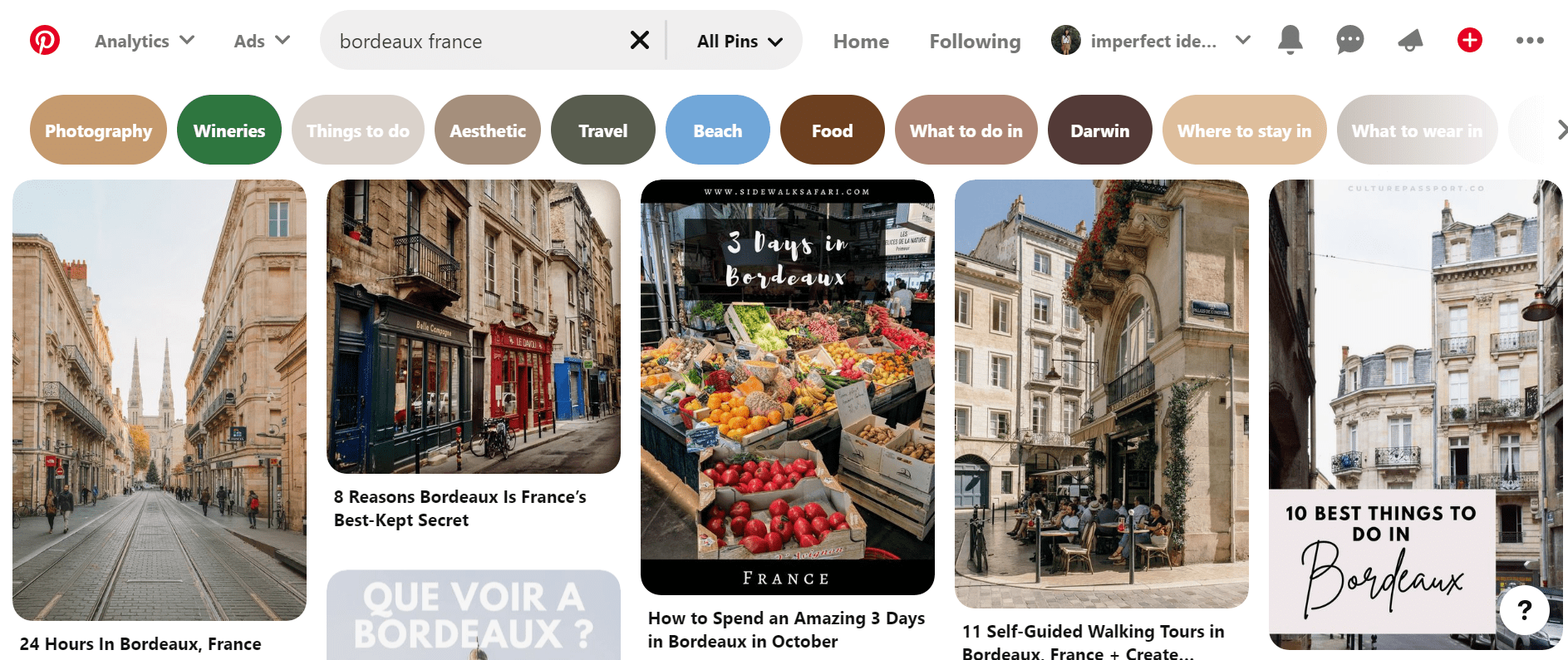 """example of suggested pinterest keywords for the search """"bordeaux france"""""""