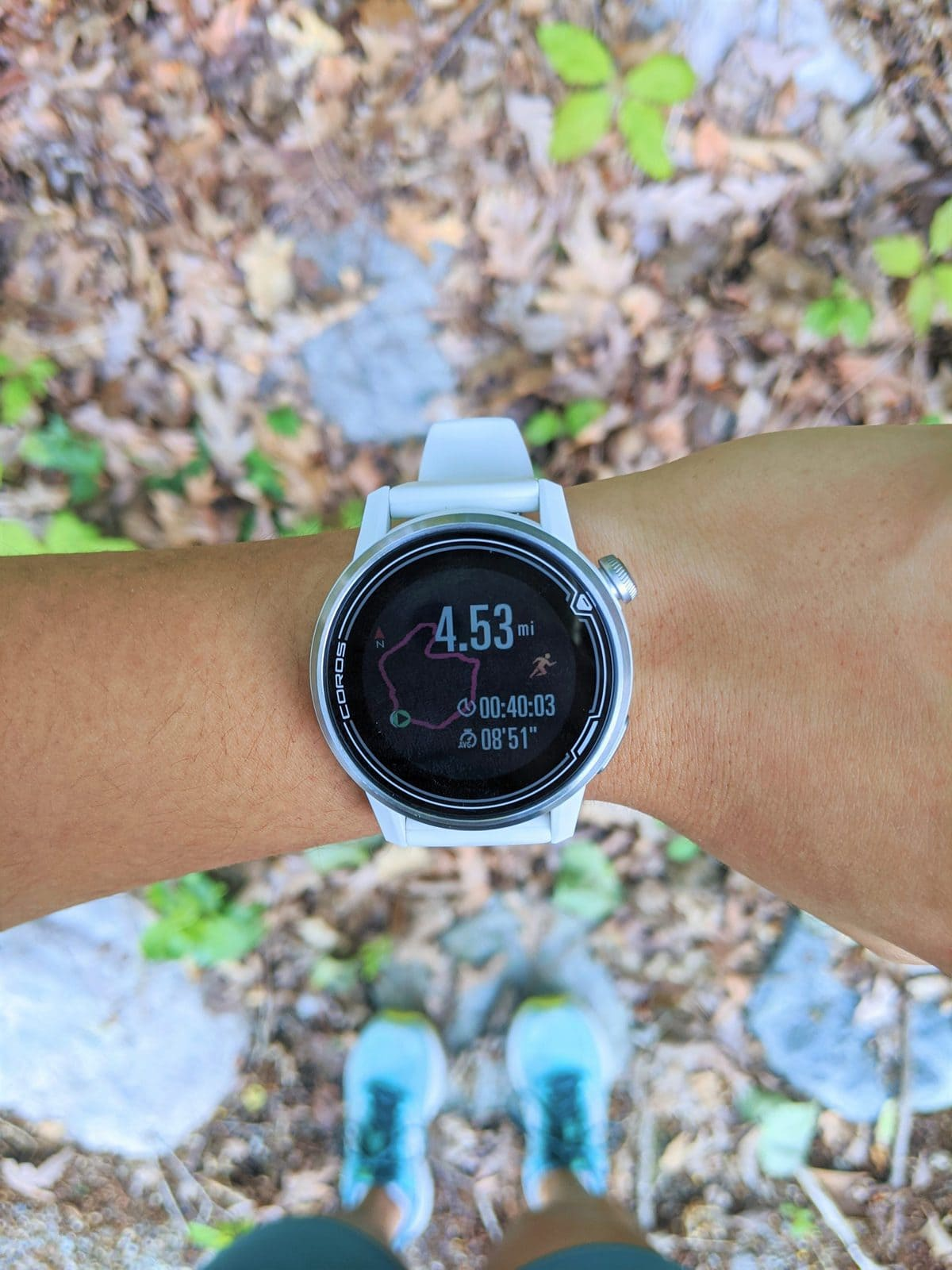 COROS APEX on wrist, watch face after a run