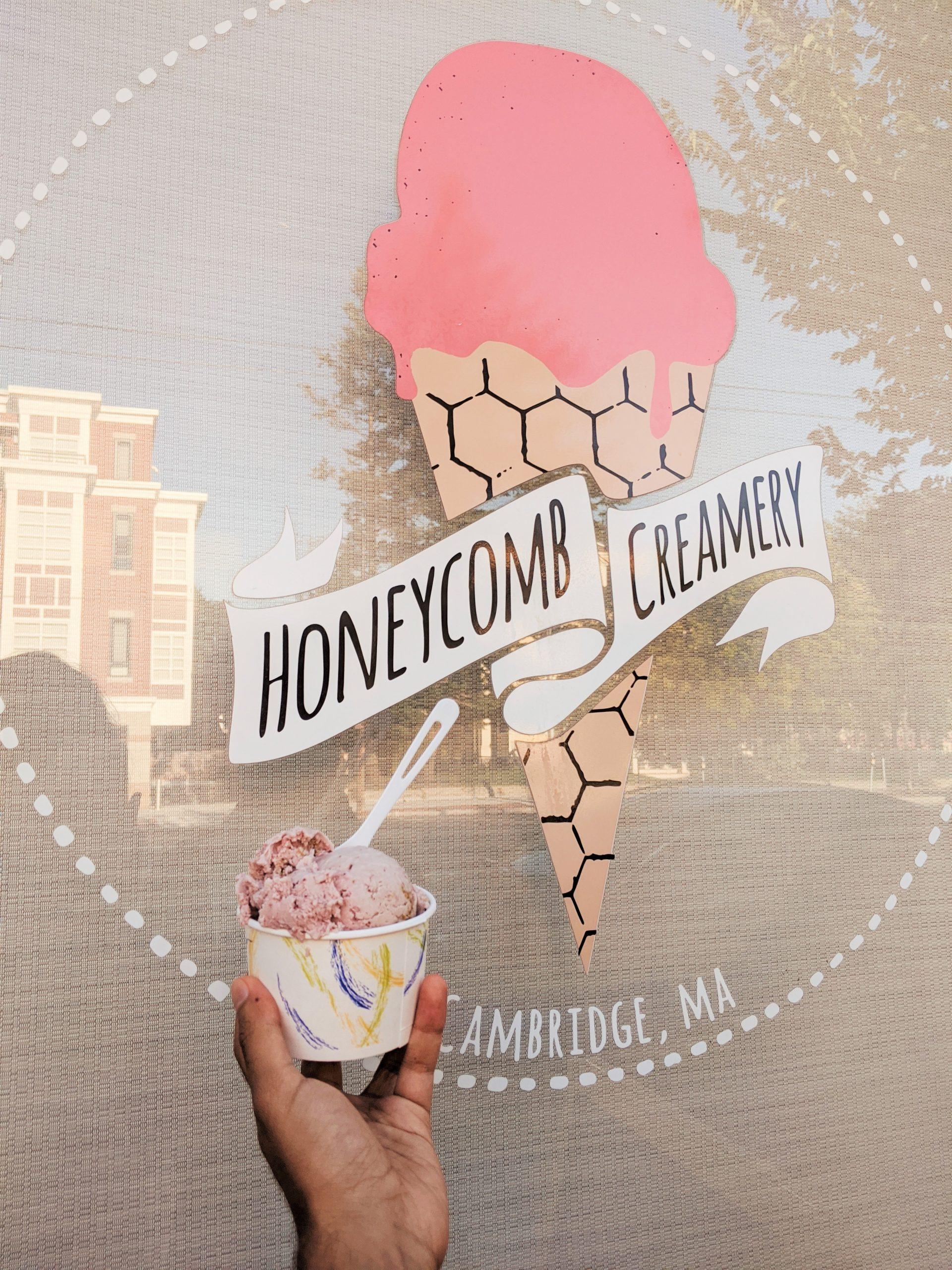 Honeycomb Creamery storefront and vegan ice cream