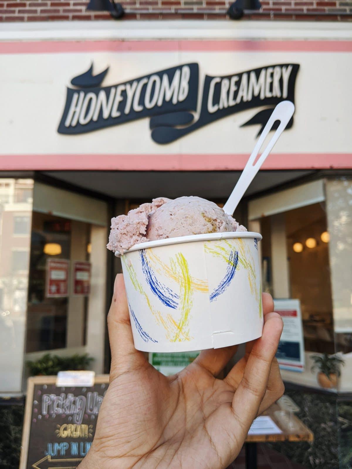 Honeycomb Creamery storefront with vegan ice cream in foreground