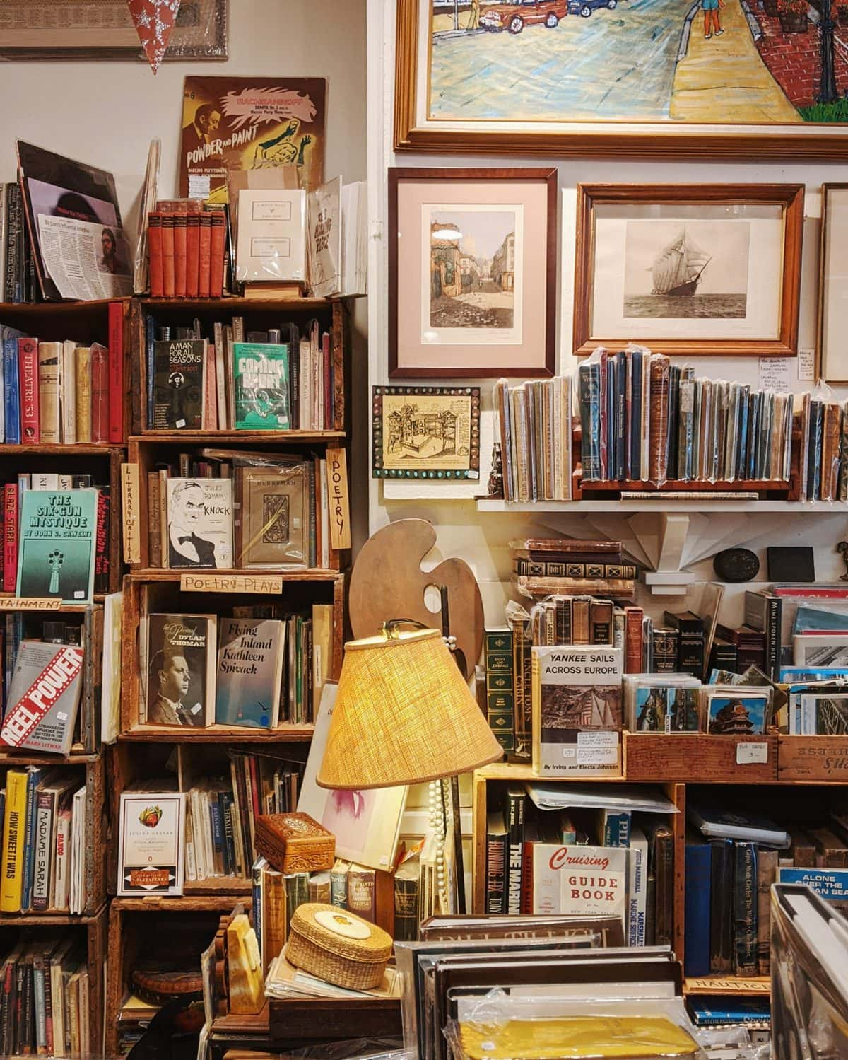 Vintage bookstore with shelves of old books and old paintings