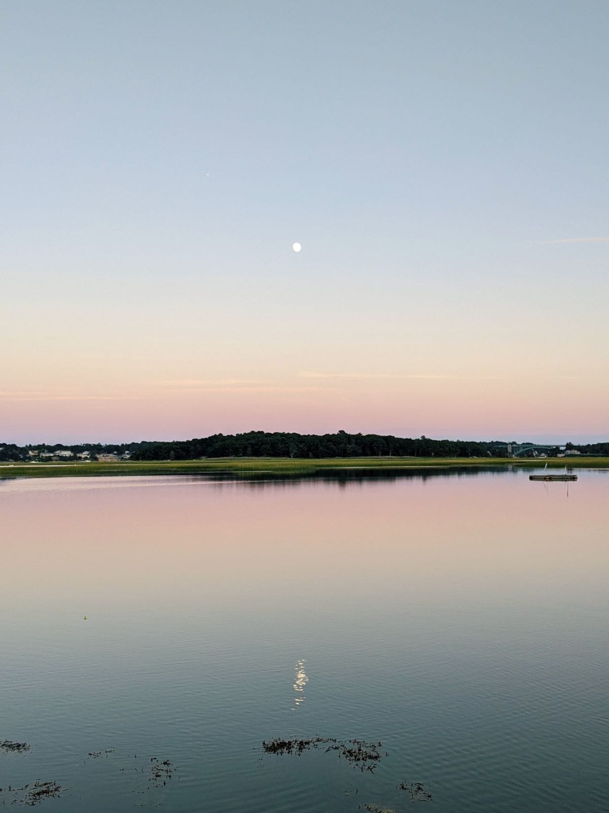The pink sunset at Jones Salt Marsh, with a small moon visible and reflected in the light blue water