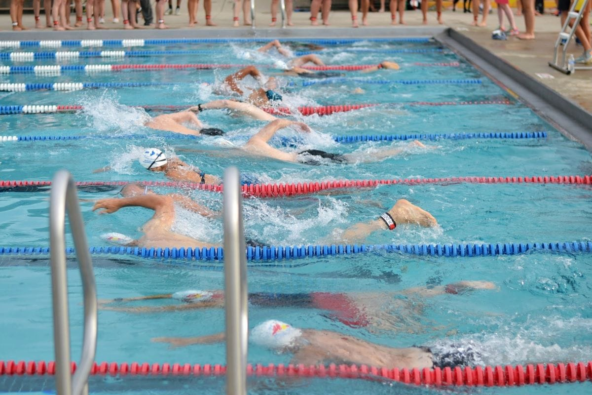 Swimming section of a triathlon in a pool
