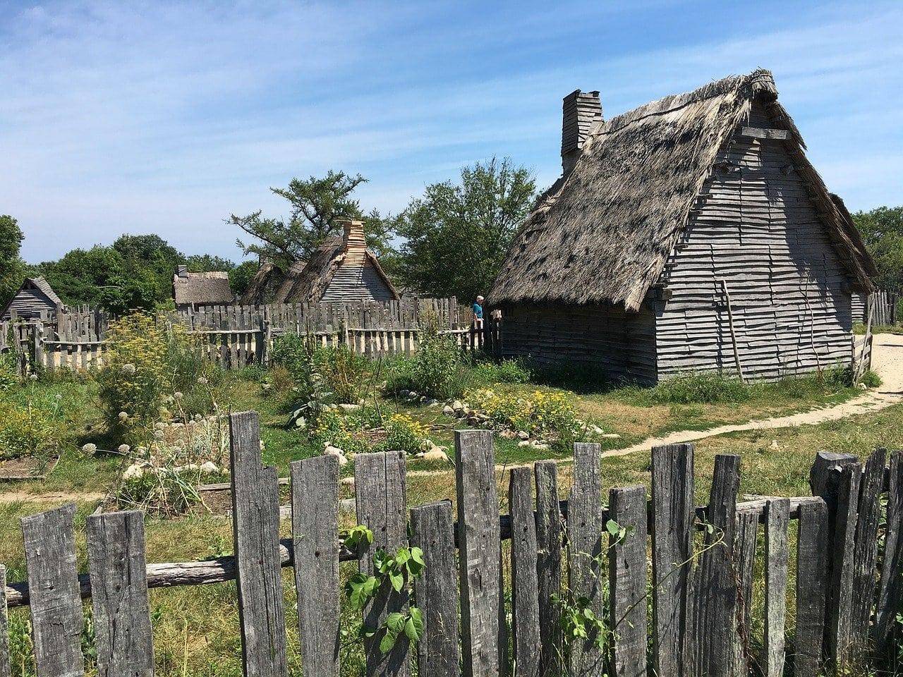 The 17th-century English village replica at Plimouth Plantation