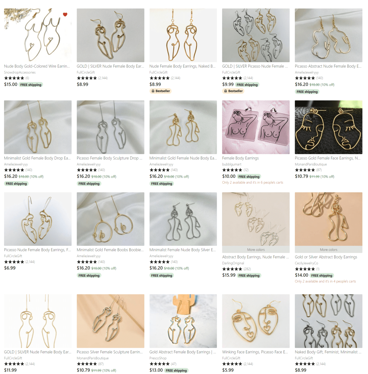 Search results for 'body earrings' on Etsy with many duplicate designs