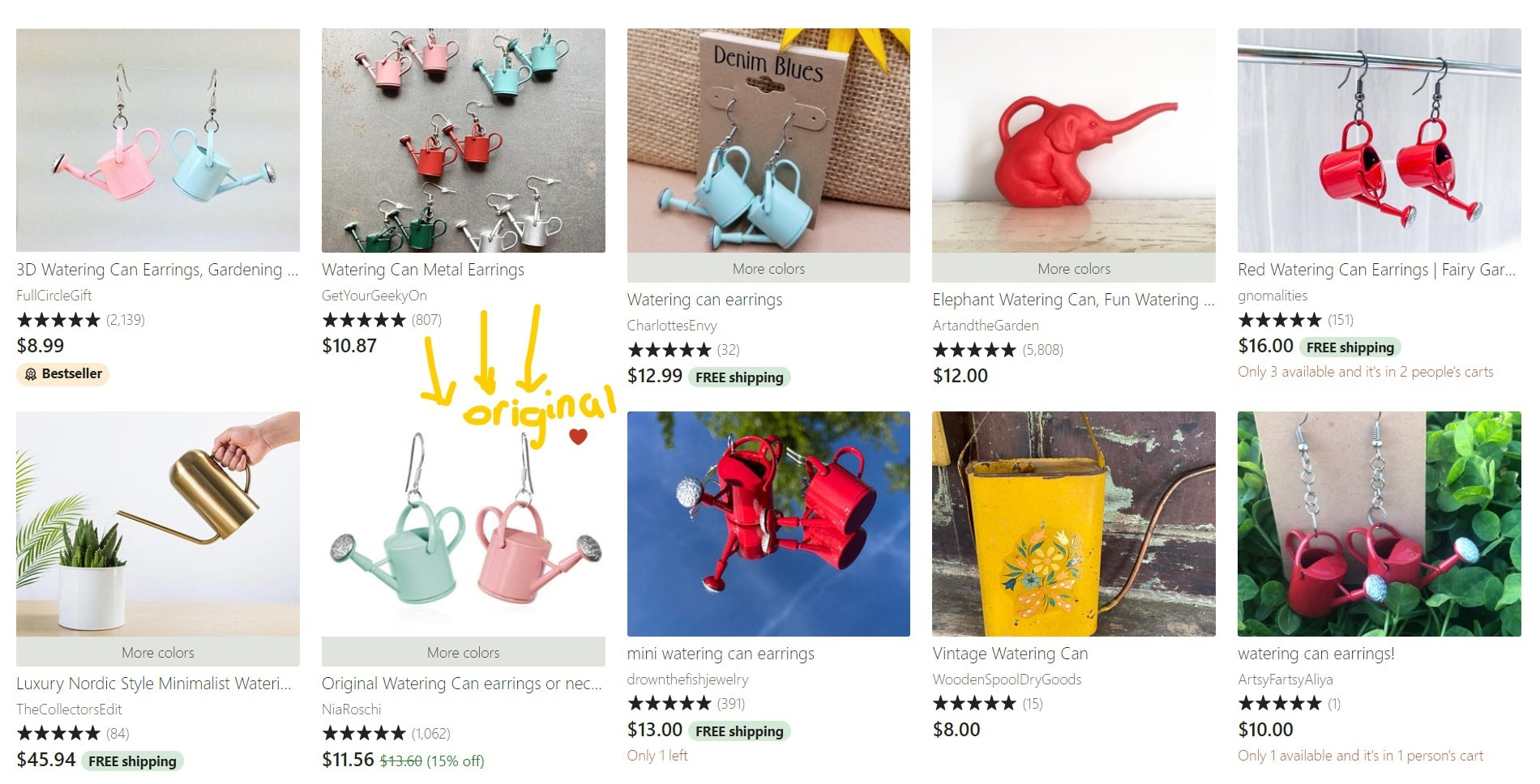 Listing results when you search 'watering can earrings' on Etsy with the original design circled