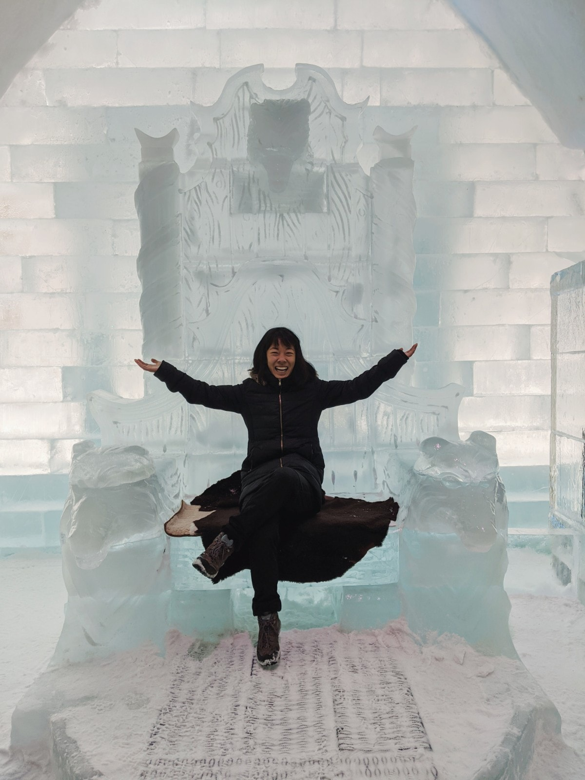 Me sitting on an ice throne