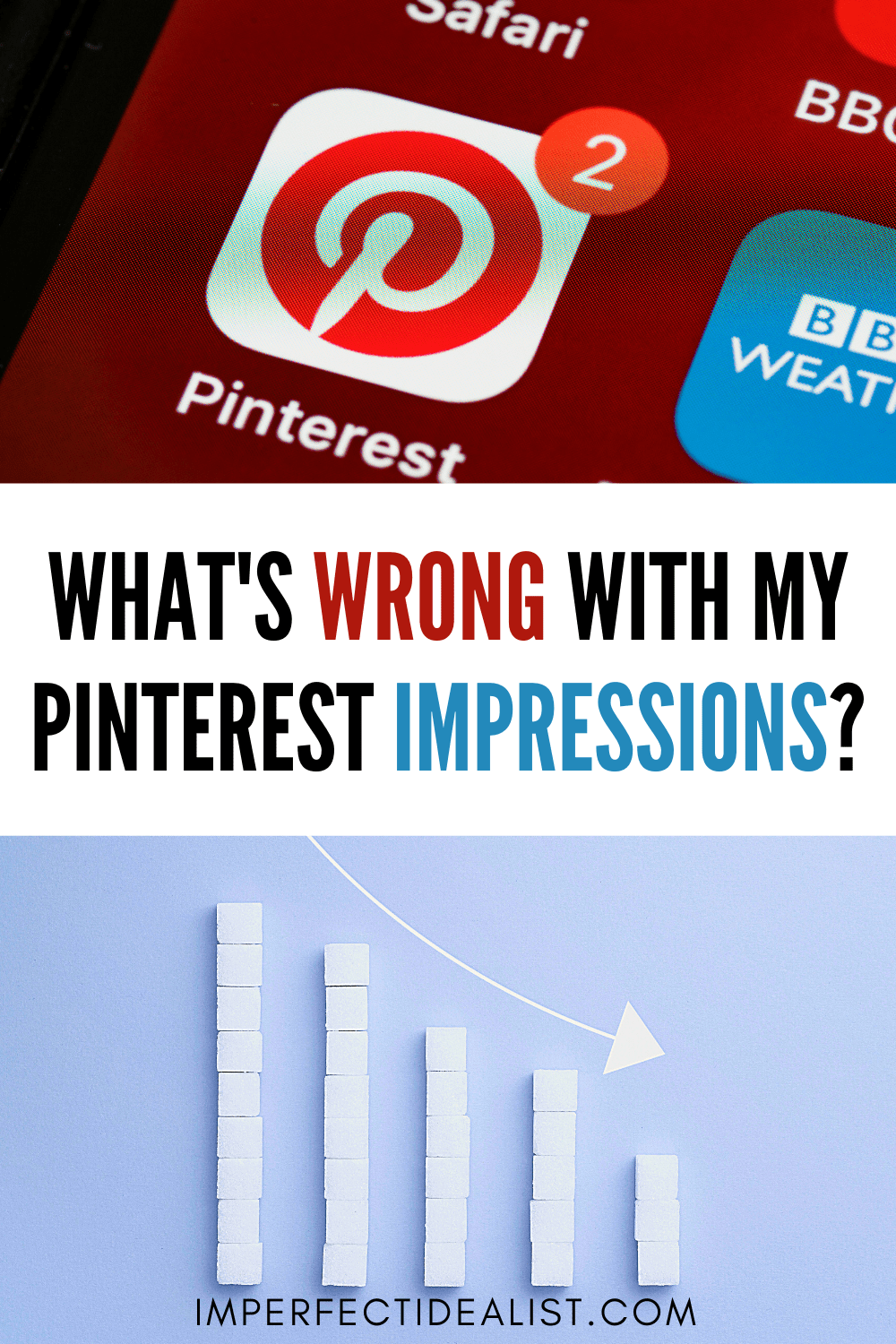 "Pinterest graphic that reads ""what's wrong with my pinterest impressions?"""