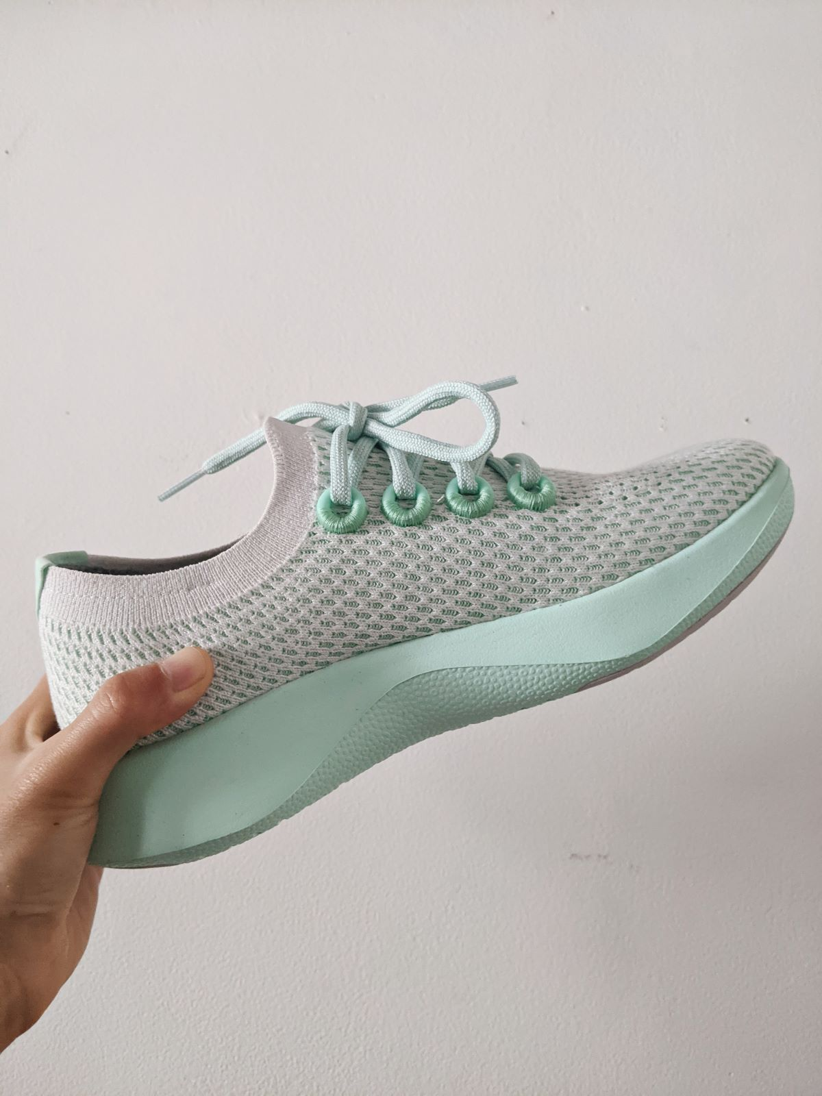 Allbirds Tree Dashers running shoes in mint/Cyclone