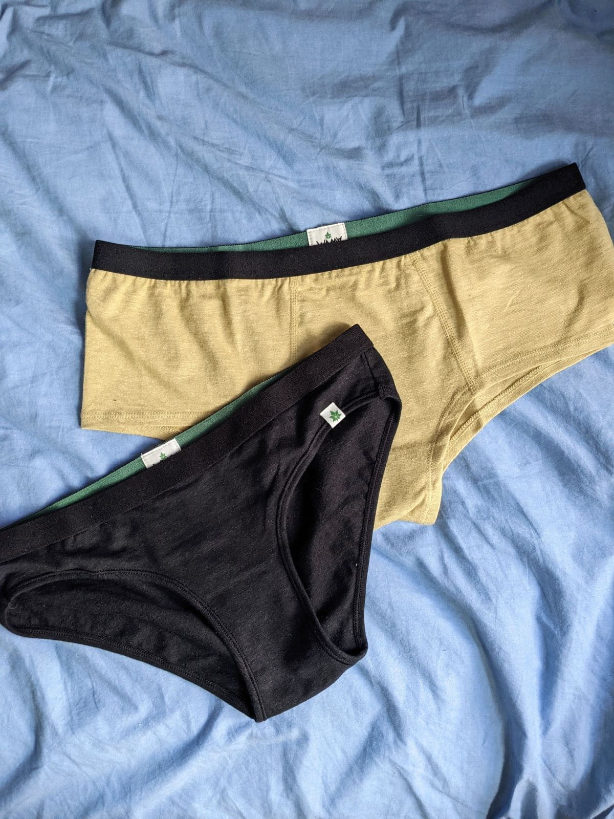 black brief on top of yellow boyshort on blue sheets
