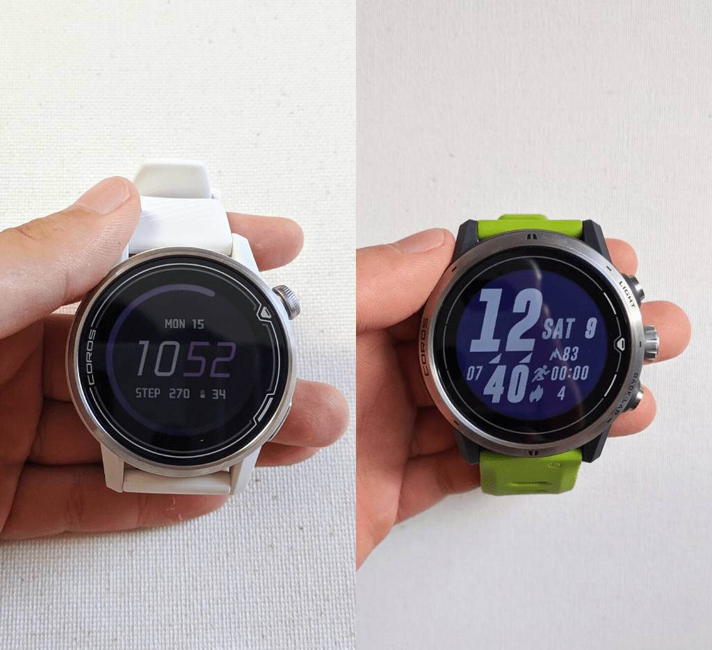 COROS APEX 42mm in white on the left, green APEX Pro on right