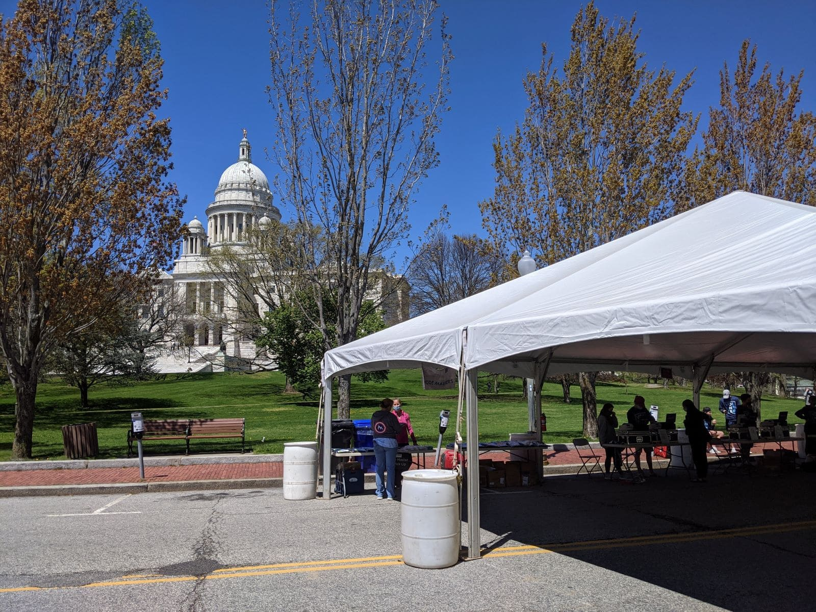 Packet pickup for the Providence Marathon outside of the state house