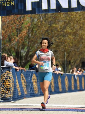 at the Providence Marathon finish line