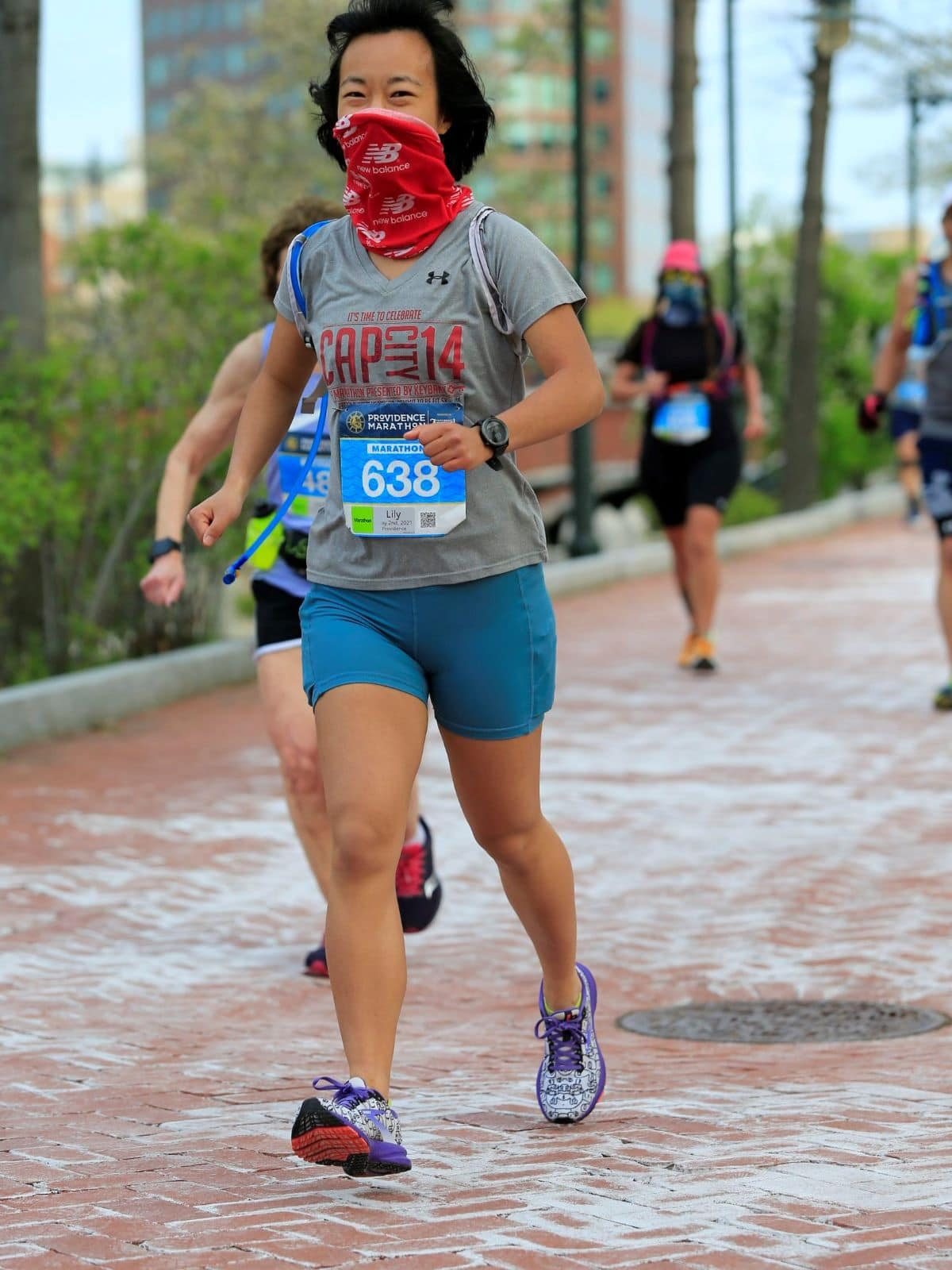 me running the Providence Marathon in the first mile