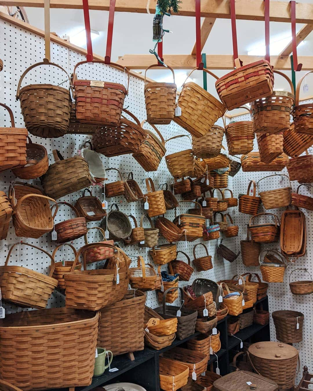 Wall of baskets in an antique mall in Berlin, Ohio