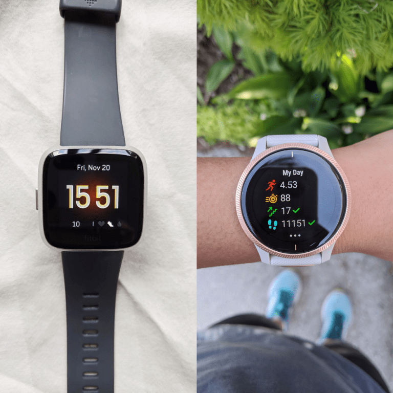collage of a Fitbit Versa 2 on the left and Garmin Venu on the right