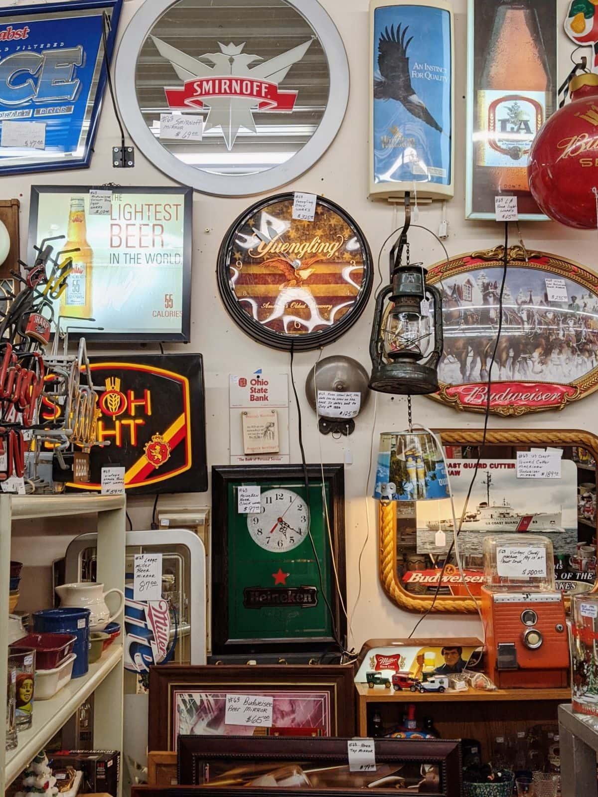 vintage signs at Logan Antique Mall